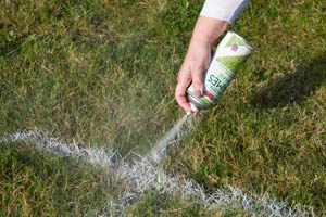 4 - Grass being sprayed with PlastiKote Garden Games