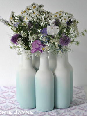 Valspar spray paint ombre wine bottle vase