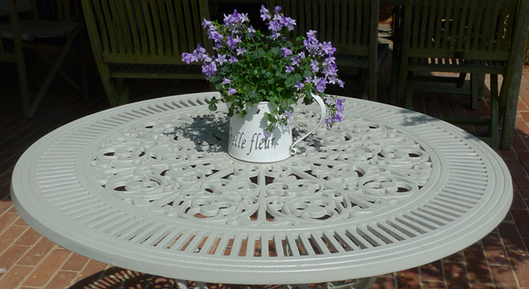 wrought iron table after T&S Warm Grey