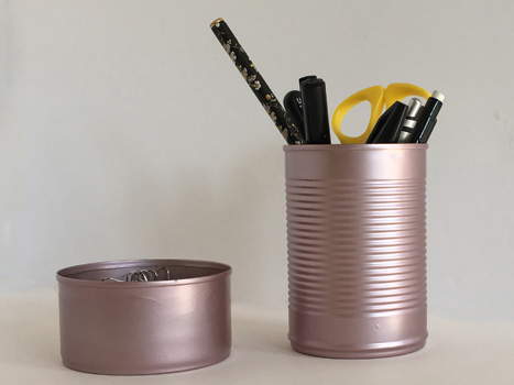 Rose Gold tin can Pen pot