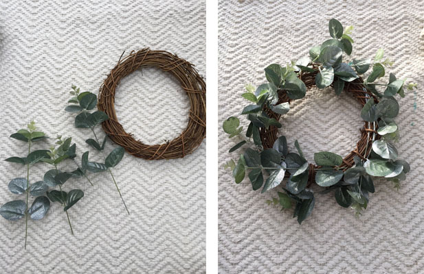 REader project wreath before and after