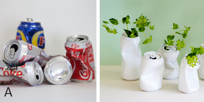 From crushed drink cans to vases