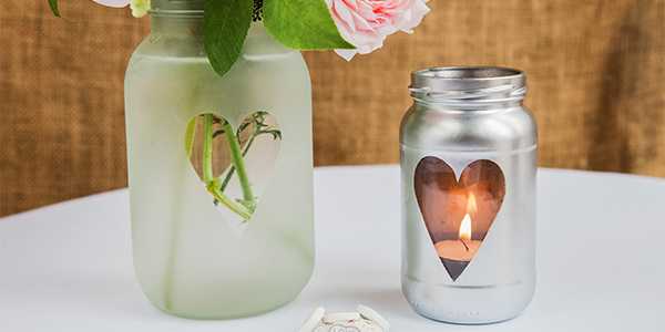 A heart stencil adds a pretty detail - works well as a tea light holder.