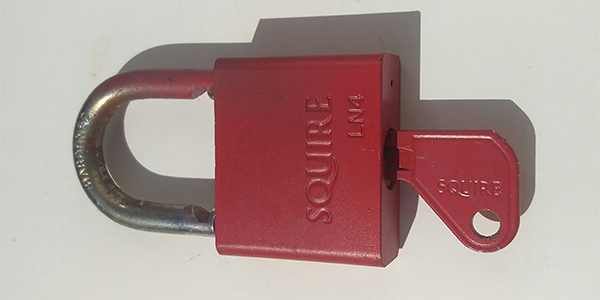 padlock spray painted red