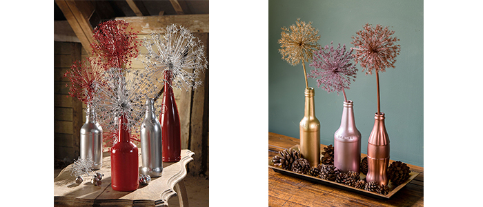 bottles and allium heads in post